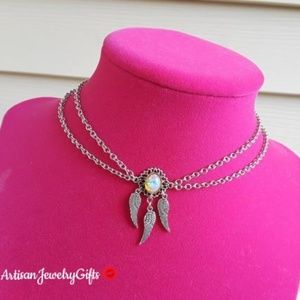 Layered Sterling Silver Opal Dreamcatcher Choker
